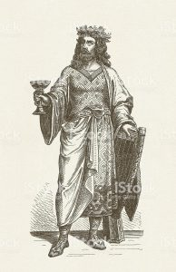 Alboin (before 526 - 572/573), king of the Lombards and the founder of the Lombard kingdom in Italy. Woodcut engraving after a fresco (19th century), published in 1881.
