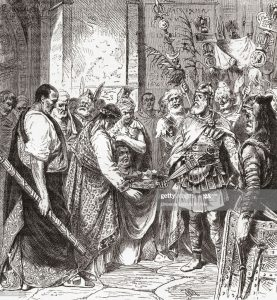 Flavius Odoacer forces Romulus Augustus to resign the Crown, 476 AD.  Flavius Odoacer, c. 433- 493 AD, aka Flavius Odovacer or Odovacar.  Soldier who in 476 became the first King of Italy.  From Ward and Lock's Illustrated History of the World, published c.1882.(Photo by: Universal History Archive/Universal Images Group via Getty Images)
